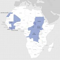 Cities with UN Peacekeeping bases in Afrika